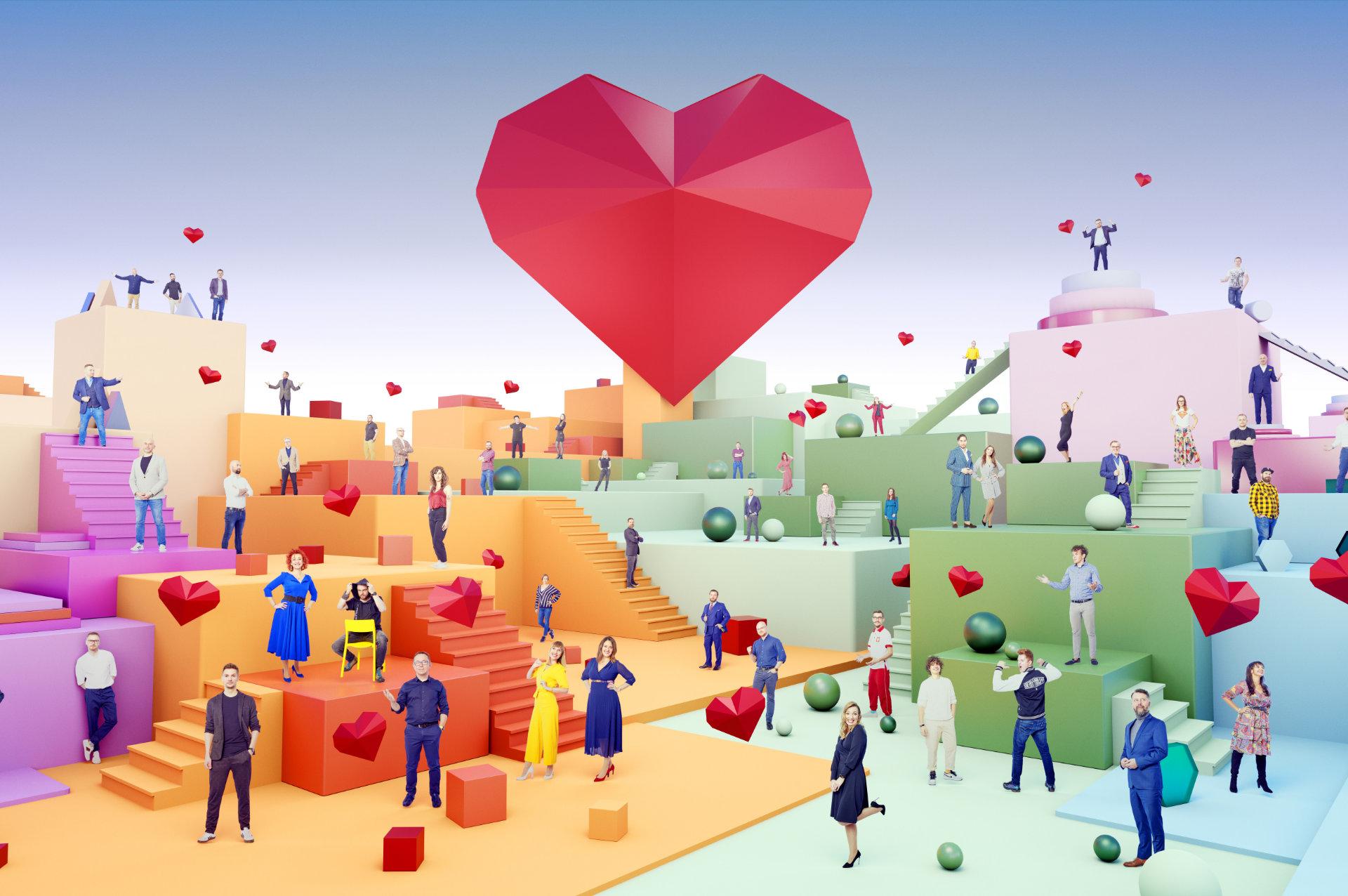 Abstrakcyjne zdjęcie grupowe prelegentów I Love Marketing